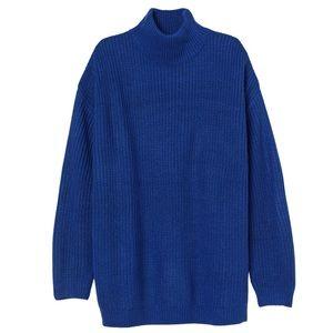 H&M Divided Blue Knit Oversized Turtleneck Sweater